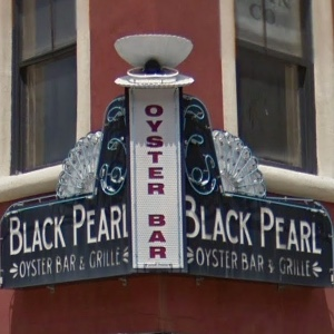 Black Pearl Oyster Bar sign in Galveston