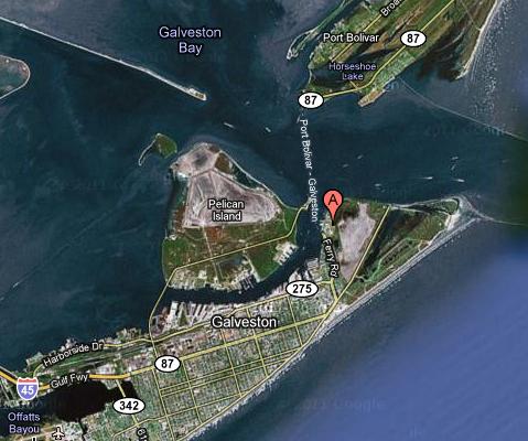 Galveston Ferry Aerial Map