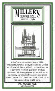 Miller's Galveston Menu